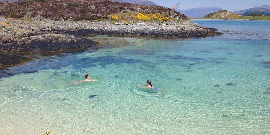 sea kayak plockton beach swim